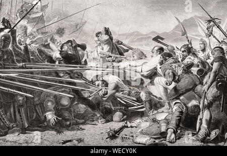 Death of Arnold von Winkelried, a legendary hero of Swiss history, Battle of Sempach, 1386 - Stock Photo