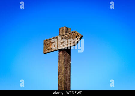 Low Angle View Of Sign On Pole Against Clear Blue Sky - Stock Photo