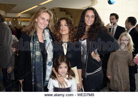 Paris, France - Celine Charloux, Salma Hayek, her daughter Valentina Paloma Pinault and Roxanne Depardieu at the 'Reves d'Enfants' Arop charity event held at Opera Bastille in Paris. AKM-GSI December 15, 2013 - Stock Photo