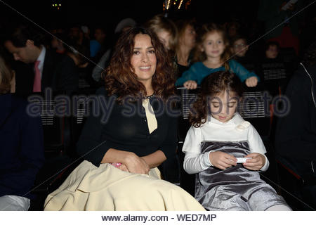 Paris, France - Salma Hayek and her daughter Valentina Paloma Pinault attend the 'Reves d'Enfants' Arop charity event held at Opera Bastille in Paris. AKM-GSI December 15, 2013 - Stock Photo