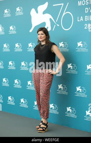 VENICE, ITALY - AUG 28: Katrin Gebbe attends the Pelikanblut photocall during the 76th Venice Film Festival - Stock Photo