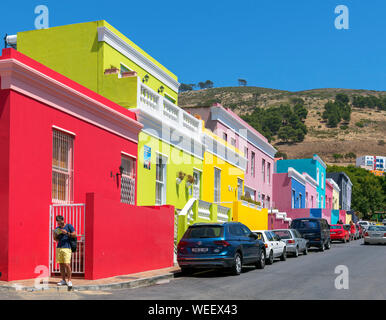 Colourful heritage houses on Wale Street in the Bo-Kaap district of Cape Town, Western Cape, South Africa - Stock Photo