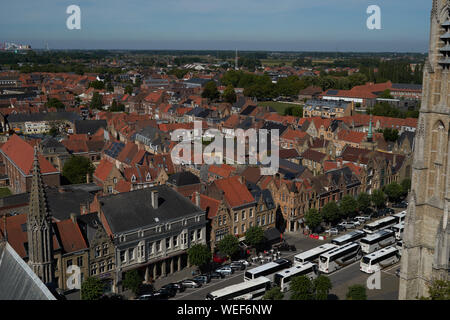 View over Ypres from the Cloth Hall. Ypres, Belgium - Stock Photo
