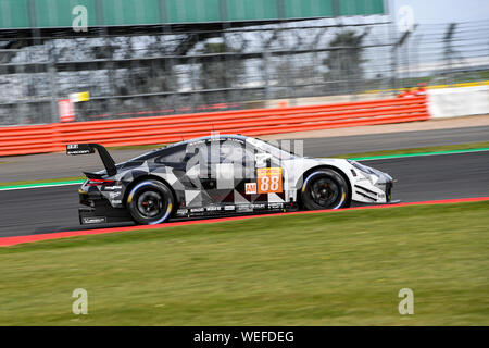 TOWCESTER, UNITED KINGDOM. 30th Aug, 2019. DEMPSEY-PROTON RACING (DEU) - Porsche 911 RSR: Thomas Preining (AUT) G TBA TBA during Free Practice 1 of FIA World Endurance Championship with 4 hours Silverstone at Silverstone Circuit on Friday, August 30, 2019 in TOWCESTER, ENGLAND. Credit: Taka G Wu/Alamy Live News - Stock Photo