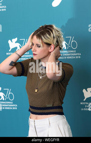 Italy, Lido di Venezia, August 30, 2019 : Photocall of the movie 'Seberg' director Benedict Andrews, in the picture Kristen Stewart. 76th Venice Film - Stock Photo