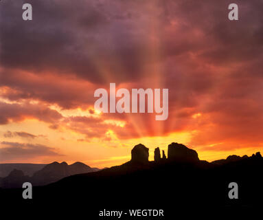 Cathedral Rock and sunrise. Arizona - Stock Photo