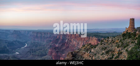 USA, Arizona, Coconino County, Grand Canyonyon National Park. Panorama of Desert View Watchtower Looking Over the Colorado River. - Stock Photo