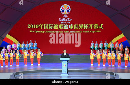 Beijing, China. 30th Aug, 2019. Chinese President Xi Jinping attends the opening ceremony of the FIBA Basketball World Cup 2019 at the National Aquatics Center, also known as the Water Cube, in Beijing, capital of China, Aug. 30, 2019. Credit: Shen Hong/Xinhua/Alamy Live News - Stock Photo