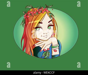 Natural green forest girl with red cherries and leaves on her hair illustration. Beautiful woman with big doll eyes. Ecological, vegetarian plants acc - Stock Photo