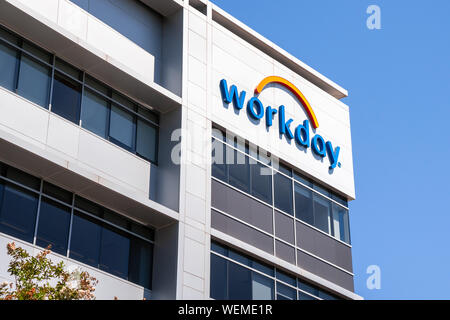 August 25, 2019 Pleasanton / CA / USA - Workday sign at their headquarters; Workday, Inc. is an on‑demand (cloud-based) financial management and human - Stock Photo