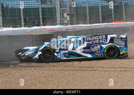 The #45 Carlin Dallara P217-Gibson of Jack Manchester, Harry Tincknell and Ben Barnicoat crashes during practice for the European Le Mans Series at Si - Stock Photo