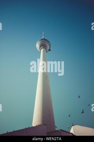 Fernsehturm TV tower at Alexanderplatz in Berlin. 10th October 2015. Pigeons flying arround concrete construction. - Stock Photo