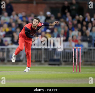 Manchester, UK. 30th August 2019; Emirates Old Trafford, Manchester, England; T20 Vitality Blast, Lancashire Lightning versus Leicestershire Foxes; Glenn Maxwell bowling for Lancs - Editorial Use Only Credit: Action Plus Sports Images/Alamy Live News