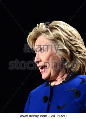 Coral Gables, FL - Former Secretary of State, Hillary Rodham Clinton speaks to students and supporters today at the University of Miami Bank United Center as recent supporters hint at her bid for a second Presidential run. AKM-GSI February 26, 2014 - Stock Photo