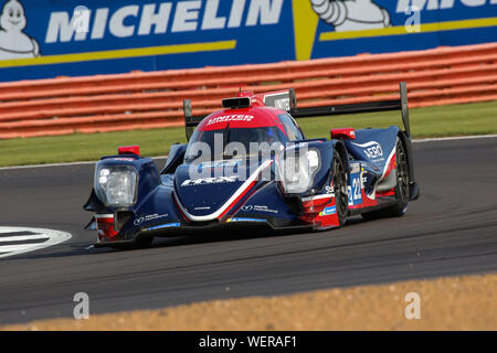 The #22 United Autosports Oreca 07-Gibson of Phil Hanson and Filipe Albuquerque during practice for the FIA World Endurance Championship at Silverston - Stock Photo