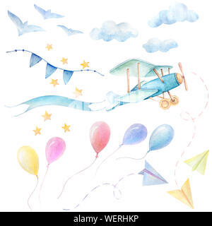 Baby shower set boy. Airplane fly with ribbon. Colorful balloons, sky clouds, paper airplane, stars, birds, ribbons. Cute watercolor for kids. White b - Stock Photo