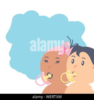 group of cute baby with pacifiers avatar character vector illustration design - Stock Photo