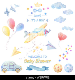 Watercolor set. Baby shower Boy. Lettering. Airplane, auto, balls, balloons, clouds, birds, hearts, stars, ribbon, bow tie. White background. Illustra - Stock Photo
