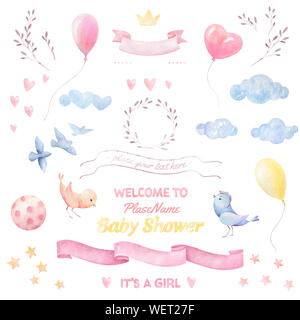 Baby shower Girl. Watercolor set. Birds, hearts, balloons, clouds, ribbons, branches, wreath. Lettering. White background. Print quality - Stock Photo