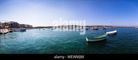 August 24th, 2019, Mellieha, Malta - panoramic view of the Ghadira bay, a tourist resort, popular for its sandy beaches and natural environment. - Stock Photo