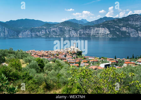This is an view of  the village of Malcesine and the old castle of Scaliger on lake Garda in Italy - Stock Photo