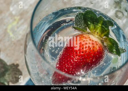 High Angle View Of Strawberry In Drink - Stock Photo