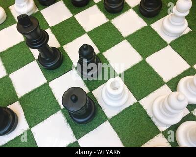 High Angle View Of Chess Pieces - Stock Photo