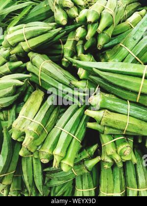 Full Frame Shot Of Okra Bundles At Market