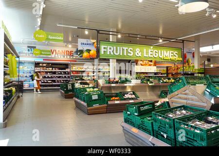 Interior of an Aldi discount supermarket