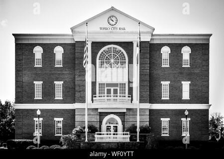 Close view of The Tupelo City Hall building, in a Greek Revival style, in the hometown of the legend, Elvis Presley, in Tupelo, MS, USA, B & W - Stock Photo