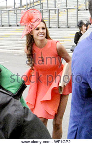 Liverpool, UK - Danielle Lloyd displays some unladylike behavior as she moons some people at Aintree while attending Ladies Day in Liverpool. The brunette beauty looked pretty in a coral dress with a matching hat as she bent over and lifted her dress up. AKM-GSI April 3, 2014 - Stock Photo