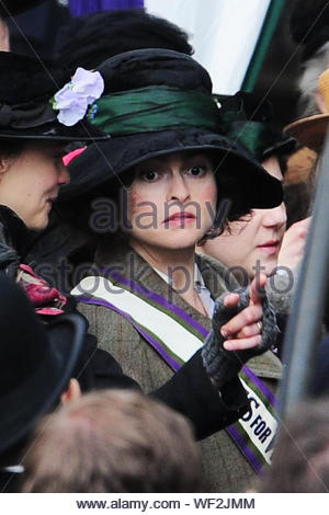 London, UK - Helena Bonham Carter and Carey Mulligan shoots scenes for their new movie 'The Suffragettes' outside The Palace of Westminster in London. AKM-GSI April 11, 2014 - Stock Photo