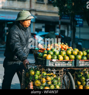 Male Street Vendor With Fruits On Bicycle In City - Stock Photo