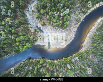 High Angle View Of River Amidst Trees - Stock Photo