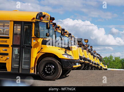 Middletown, CT / USA - June 6, 2019: Row of yellow school buses in a parking lot - Stock Photo