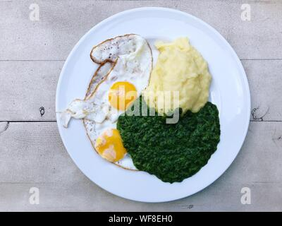Directly Above Shot Of Fried Egg And Mashed Potatoes With Spinach In Plate On Table - Stock Photo