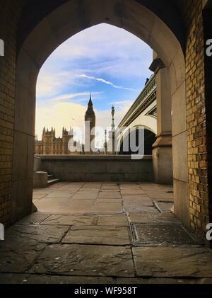 View Of Big Ben Through Building Arch - Stock Photo