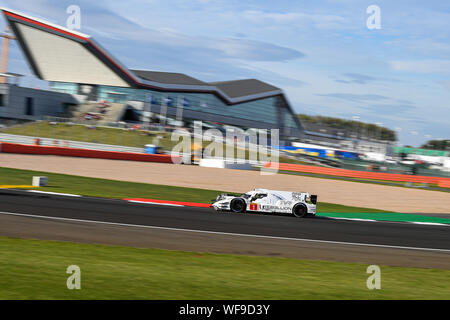 TOWCESTER, UNITED KINGDOM. 30th Aug, 2019. REBELLION RACING (CHE) - Rebellion R13 - Gibson: Bruno Senna (BRA) / Gustavo Menezes (USA) / Norman Nato (FRA) during Free Practice 2 of FIA World Endurance Championship with 4 hours Silverstone at Silverstone Circuit on Friday, August 30, 2019 in TOWCESTER, ENGLAND. Credit: Taka G Wu/Alamy Live News - Stock Photo