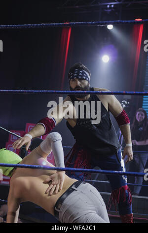 CHILE wrestling CNL. Chilean Professional Wrestlers. Eddie Vergara National Champion 'The Best of the Worst' 'The Chilean Export'. Facing the Blessings a team of young outstanding fighters. - Stock Photo