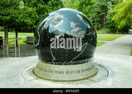 World War II Memorial in Bicentennial Capitol Mall State Park, Nashville, Tennessee, United States - Stock Photo