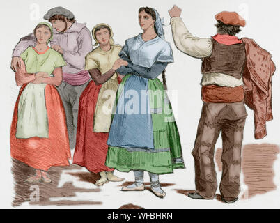 Spain. Types of Basque provinces. Women and men with traditional dresses. Unpublished sketches of Valeriano Becquer. Engraving. La Ilustracion Española y Americana, January 15, 1876. Later colouration. - Stock Photo