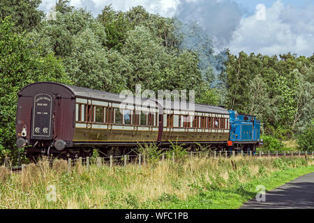 Ex Caledonian Railway steam engine No. 419 pulling Caledonian coaches at Summer Steam event 17/8/19 at Bo'ness & Kinneil Railway Bo'ness Scotland UK - Stock Photo
