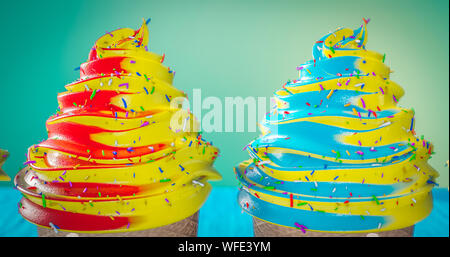 Colorful Ice Cream Cones  ice cream scoops of different colors and flavors with berries, nuts and fruits Summer and Sweet menu concept travel - Stock Photo