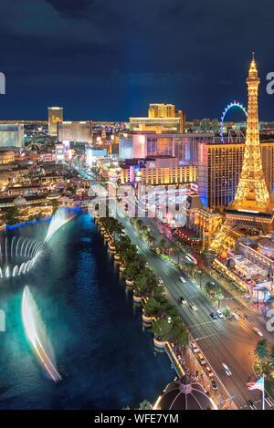 Aerial view of Las Vegas strip in Nevada as seen at night,