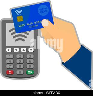 contactless credit card payment concept with hand holding card against POS payment terminal vector illustration - Stock Photo
