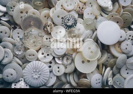 Full Frame Shot Of Various Buttons Pile - Stock Photo