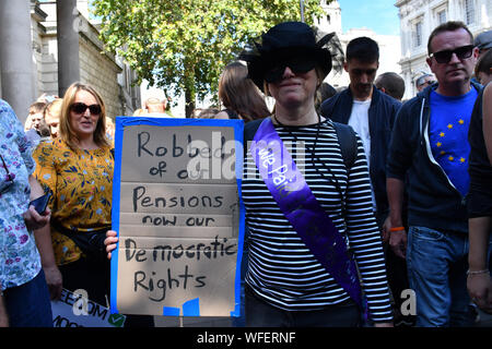London, UK. 31st Aug, 2019. Thousands attends to Stop The Coup, defend democracy - protest at Downing Street, will its be a coup like in HK protest? on 31 August 2019, London, UK Credit: Picture Capital/Alamy Live News - Stock Photo