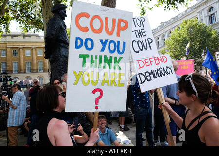 Whitehall, London, UK. 31st August 2019. Protest against the proroguing of parliament by Boris Johnson. Credit: Matthew Chattle/Alamy Live News - Stock Photo