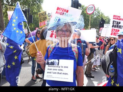 London.UK.31st August 2019.Tens of thousands of demonstrators descend on Whitehall to protest against Boris Johnson and the prorogation of Parliament. © Brian Minkoff/Alamy Live News - Stock Photo