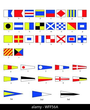A complete set of Nautical flags for letters and numbers, including ordinal numbers. EPS10 vector format. - Stock Photo